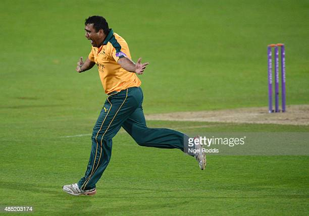 Samit Patel of Nottinghamshire celebrates after taking the wicket of John Hastings of Durham during the Royal London OneDay Cup Quarter Final between...