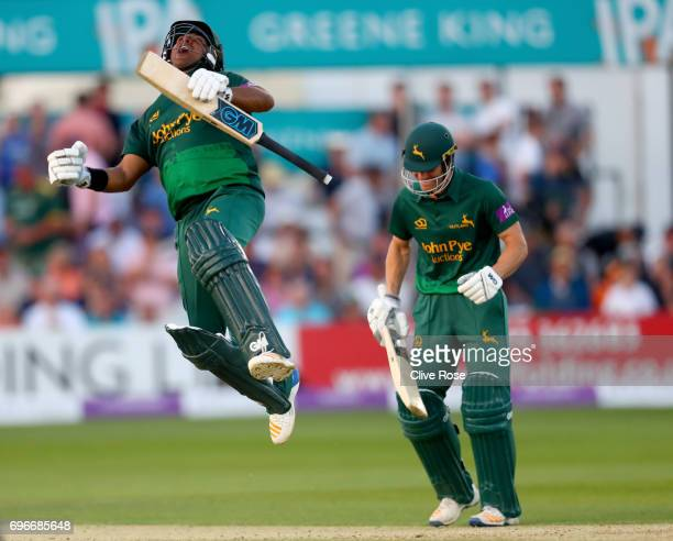 Samit Patel of Nottinghamshire celebrates hitting the winning runs as Nottinghamshire win the Royal London OneDay Cup Semi Final between Essex and...