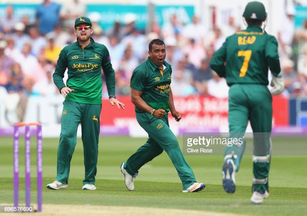 Samit Patel of Nottinghamshire celebrates the wicket of Tom Westley of Essex during the Royal London OneDay Cup Semi Final between Essex and...