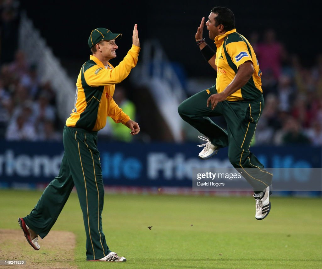 <a gi-track='captionPersonalityLinkClicked' href=/galleries/search?phrase=Samit+Patel&family=editorial&specificpeople=597936 ng-click='$event.stopPropagation()'>Samit Patel</a> (R) of Nottinghamshire celebrates with team mate <a gi-track='captionPersonalityLinkClicked' href=/galleries/search?phrase=Adam+Voges&family=editorial&specificpeople=724770 ng-click='$event.stopPropagation()'>Adam Voges</a> after taking the wicket of Sean Ervine during the Friends Life T20 match between Nottinghamshire and Hampshire at Trent Bridge on July 25, 2012 in Nottingham, England.