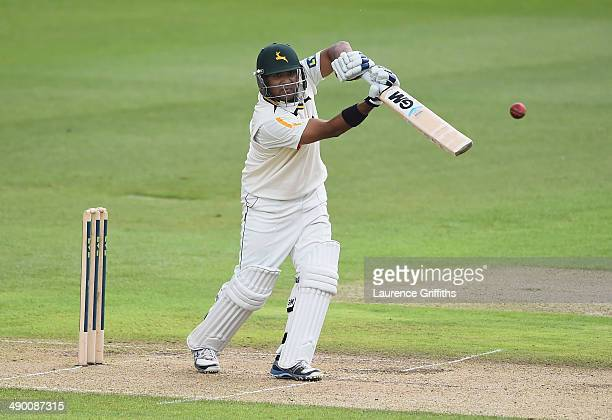 Samit Patel of Nottinghamshire hits out during day three of the LV County Championship division one match between Nottinghamshire and...