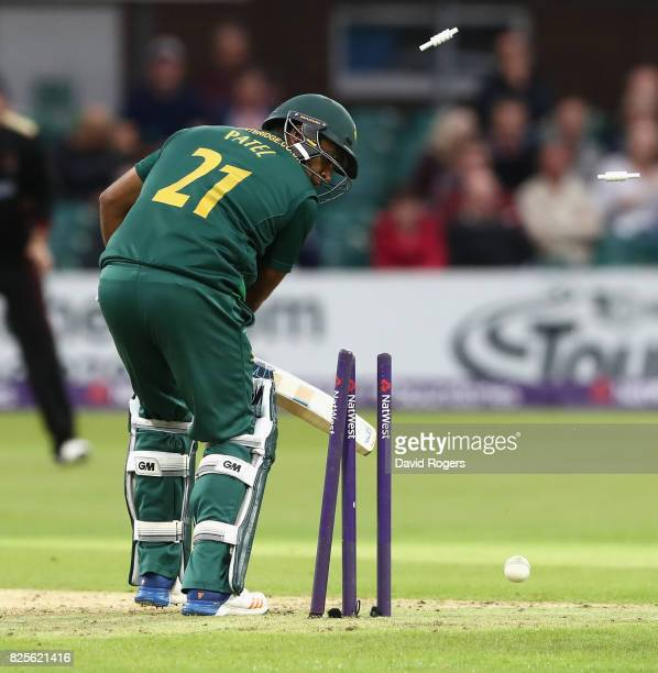 Samit Patel of Nottinghamshire is bowled by Dieter Klein first ball during the NatWest T20 Blast match between Leicestershire Foxes and...