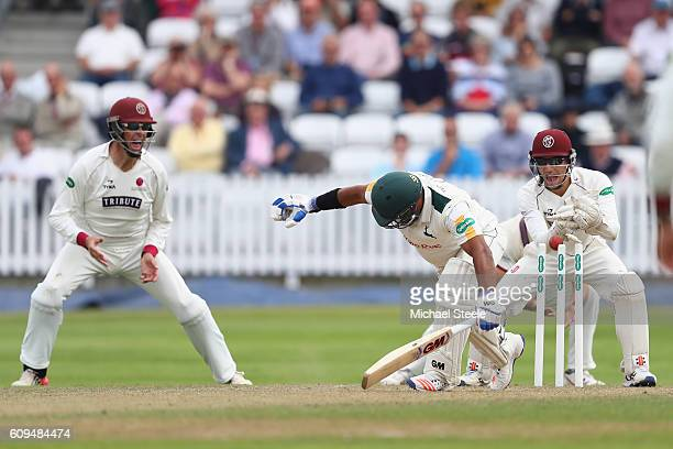 Samit Patel of Nottinghamshire is stumped by wicketkeeper Ryan Davies of Somerset off the bowling of Jack Leach during day two of the Specsavers...