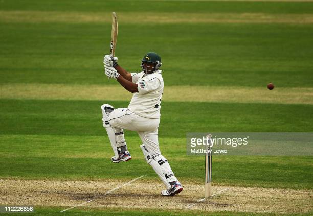 Samit Patel of Nottinghamshire pulls the ball away towards the boundary during the second day of the LV County Championship match between...