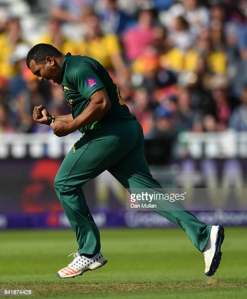 Samit Patel of Notts celebrates after taking the wicket of Shahid Afridi of Hampshire during the NatWest T20 Blast SemiFinal match between Hampshire...