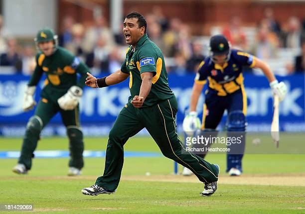 Samit Patel of Notts celebrates taking the wicket of Chris Cooke of Glamorgan during the Yorkshire Bank 40 Final match between Glamorgan and...