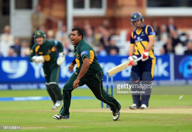 Samit Patel of Notts celebrates taking the wicket of Jim Allenby of Glamorgan during the Yorkshire Bank 40 Final match between Glamorgan and...