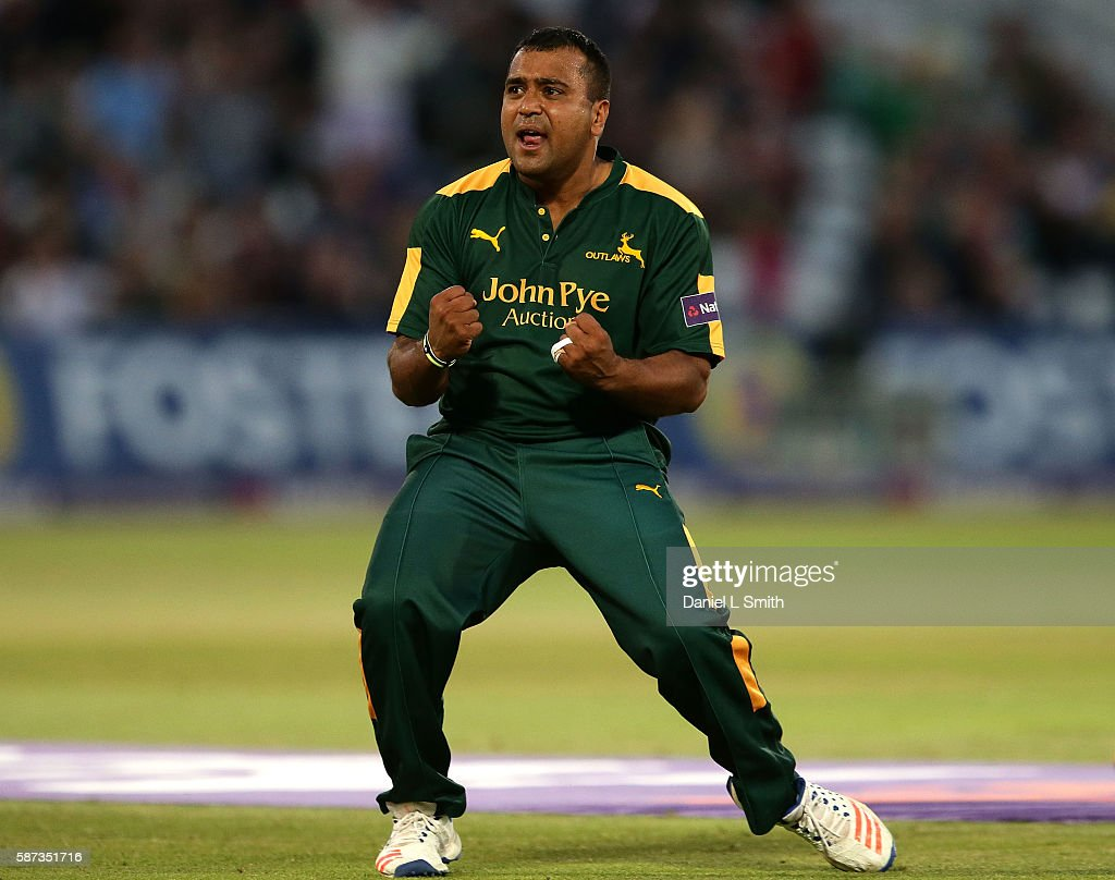 Samit Patel of Notts celebrates the dismissal of Asher Zaidi of Essex during the NatWest T20 Blast match between Notts Outlaw and Essex Eagles at...