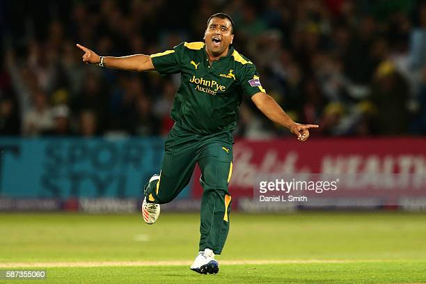 Samit Patel of Notts celebrates the dismissal of Ryan Ten Doeschate of Essex during the NatWest T20 Blast match between Notts Outlaw and Essex Eagles...