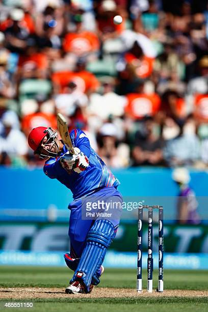 Samiullah Shenwari of Afghanistan bats during the 2015 ICC Cricket World Cup match between New Zealand and Afghanistan at McLean Park on March 8 2015...