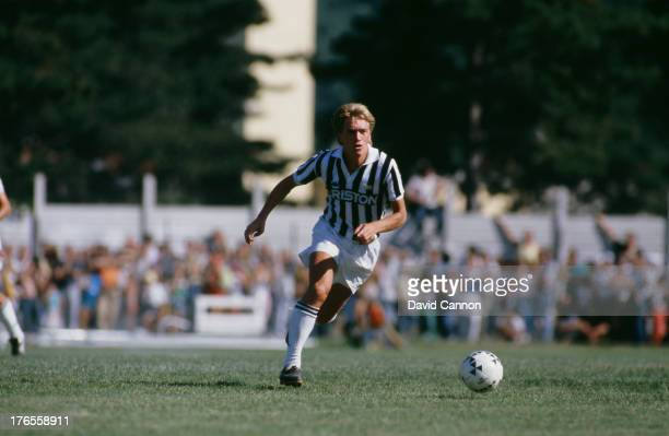 Sammarinese footballer Massimo Bonini in action for Juventus August 1987