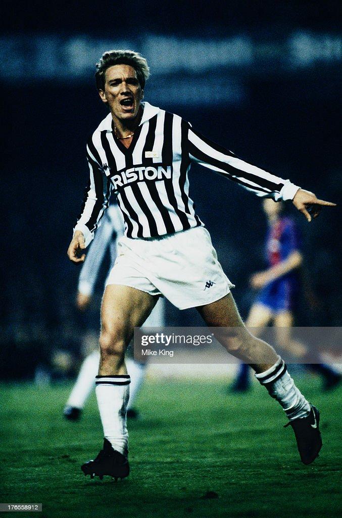 Sammarinese footballer Massimo Bonini of Juventus during a European Cup quarter final first leg match against Barcelona at Camp Nou Barcelona 5th...