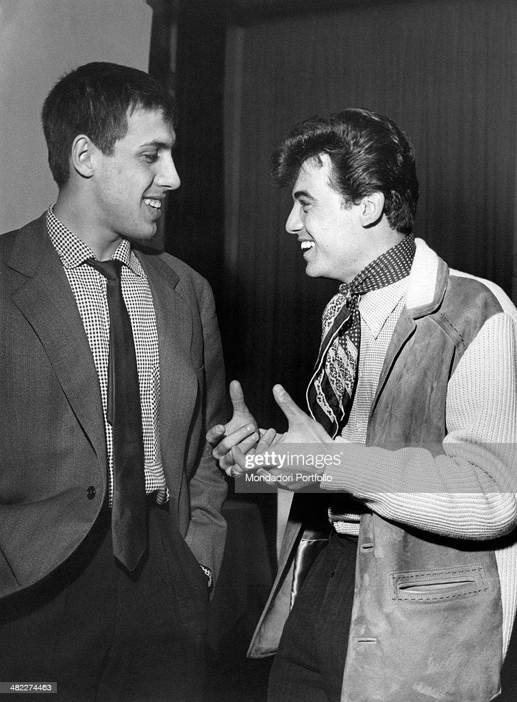 Sammarinese singer Little Tony talking to Italian singersongwriter and showman Adriano Celentano 1960s