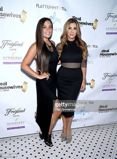 Sammi Giancola and Siggy Flicker attend the 'Real Housewives Of New Jersey' Season 7 Premiere Party at Molos on July 10 2016 in Weehawken New Jersey