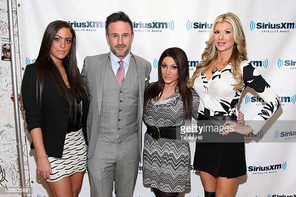 Sammi 'Sweetheart' Giancola actor David Arquette Deena Nicole Cortese and Real Housewife of Orange County Alexis Bellino visit SiriusXM Studios on...