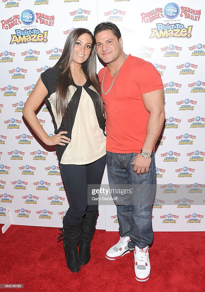Sammi 'Sweetheart' Giancola and <a gi-track='captionPersonalityLinkClicked' href=/galleries/search?phrase=Ronnie+Magro&family=editorial&specificpeople=6755919 ng-click='$event.stopPropagation()'>Ronnie Magro</a> attend the Ringling Bros. and Barnum & Bailey 'Build To Amaze!' Opening Night at Barclays Center on March 21, 2013 in the Brooklyn borough of New York City.