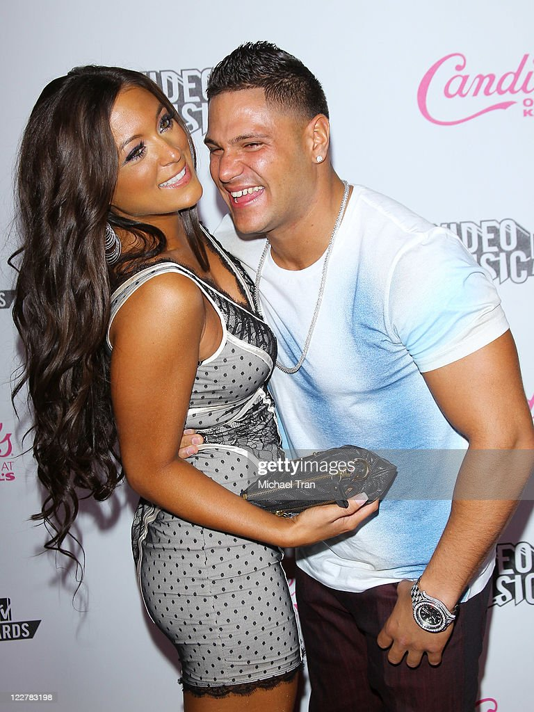 Sammi 'Sweetheart' Giancola and Ronnie OrtizMagro arrive at The 2011 MTV VMA after party hosted by Candie's held at The Colony on August 28 2011 in...