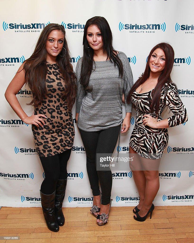 Sammi 'Sweetheart' Giancola Jenni 'JWOWW' Farley and Deena Nicole Cortese of 'Jersey Shore' visit the SiriusXM Studio on October 3 2012 in New York...