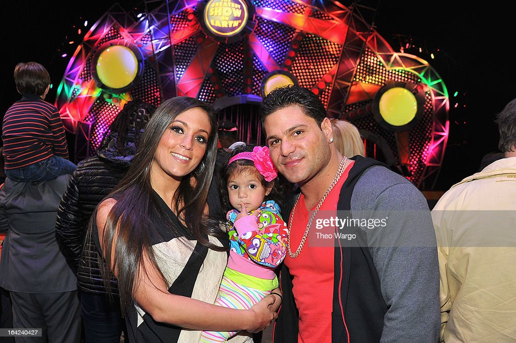 Sammi 'Sweetheart' Giancola, Ronnie Magro and guest attend Ringling Bros. And Barnum & Bailey Present Built To Amaze! on March 21, 2013 in New York City.