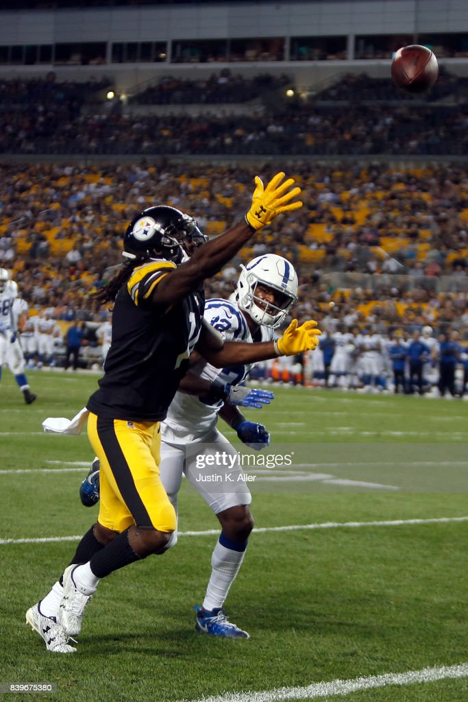 Sammie Coates #14 of the Pittsburgh Steelers can't pull in a pass against Tyson Graham #42 of the Indianapolis Colts during a preseason game on August 26, 2017 at Heinz Field in Pittsburgh, Pennsylvania.