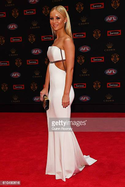 Sammie Russell partner of Maverick Weller of Saint Kilda arrives ahead of the 2016 Brownlow Medal at Crown Entertainment Complex on September 26 2016...