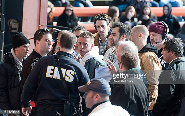 Sammy Adams is helped by EMS after collapsing during MTV's 'Spring Fix' Benefit Concert at Six Flags Great Adventure on March 23 2013 in Jackson New...
