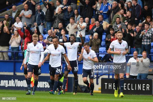 Sammy Ameobi of Bolton celebrates after scoring during the Sky Bet Championship match between Bolton Wanderers and Sheffield Wednesday at Macron...