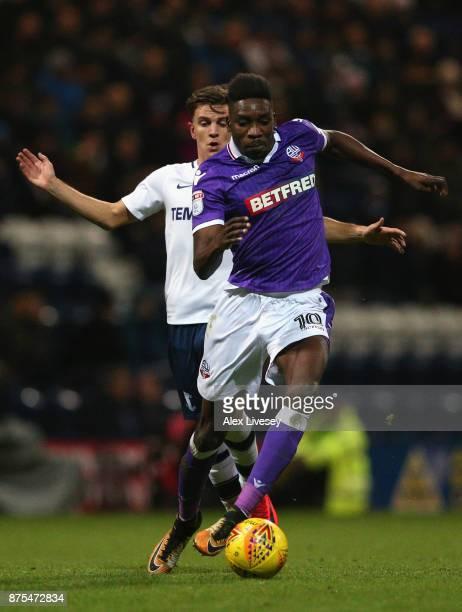 Sammy Ameobi of Bolton Wanderers beats Joshua Harrop of Preston North End during the Sky Bet Championship match between Preston North End and Bolton...