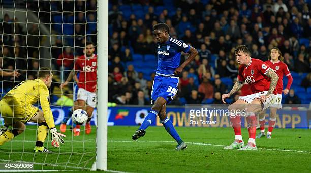 Sammy Ameobi of Cardiff misses the target from 3 yards out during the Sky Bet Championship match between Cardiff City and Bristol City at Cardiff...