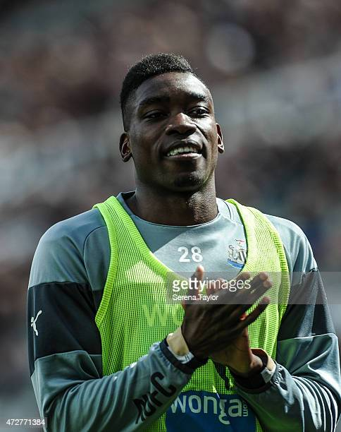 Sammy Ameobi of Newcastle claps his hands whilst warming up during the Barclays Premier League match between Newcastle United and West Bromwich...