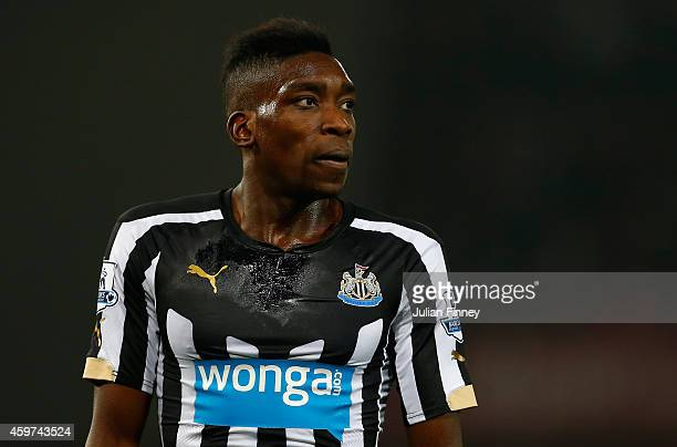 Sammy Ameobi of Newcastle United looks on during the Barclays Premier League match between West Ham United and Newcastle United at Boleyn Ground on...