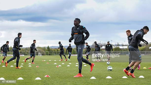 Sammy Ameobi runs during a Newcastle United Training session at The Newcastle United Training Centre on April 30 in Newcastle upon Tyne England