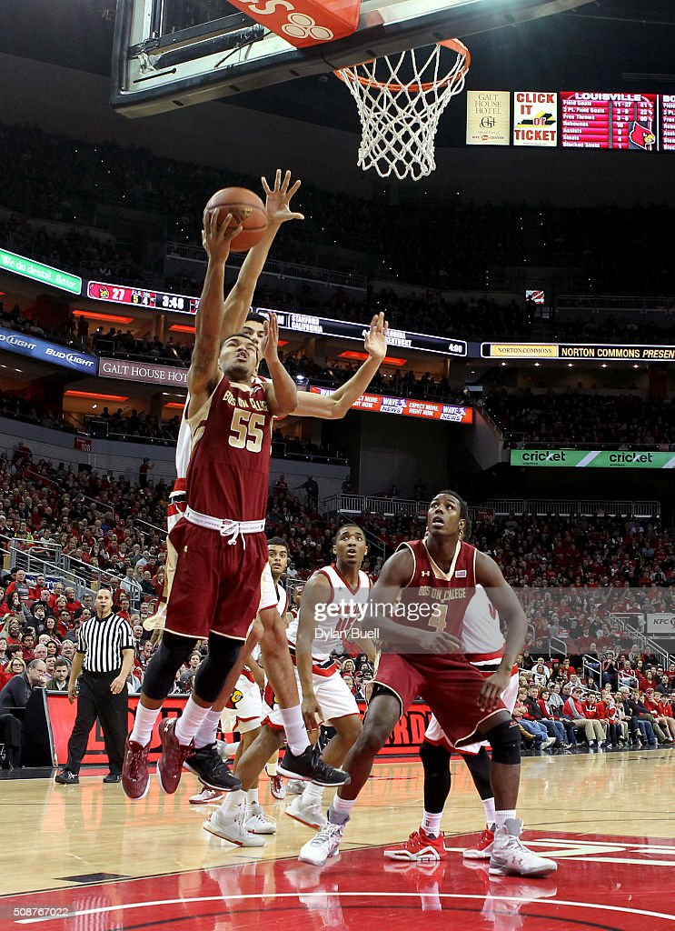 Sammy Barnes-Thompkins #55 of the Boston College Eagles attempts a layup during the first half against the Louisville Cardinals at KFC Yum! Center on February 6, 2016 in Louisville, Kentucky.