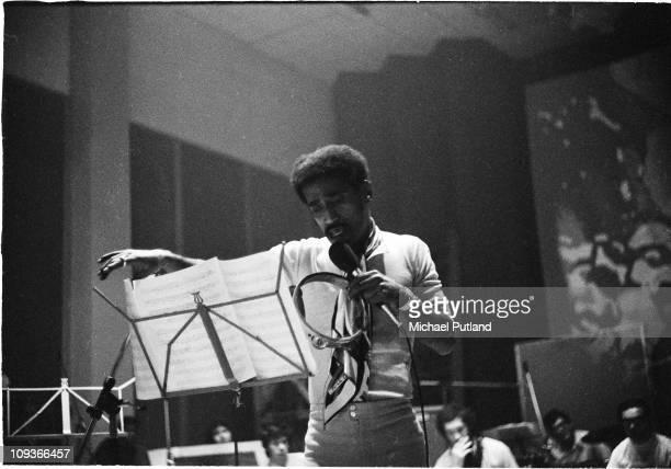Sammy Davis Jnr recording at Olympic Studios Barnes London 4th September 1969