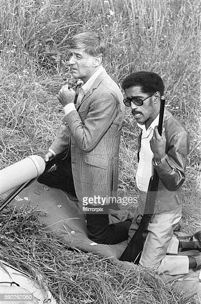 Sammy Davis Junior and Peter Lawford whilst on location at Eastnor Castle Ledbury during filming 'One More Time' Circa 1st August 1969