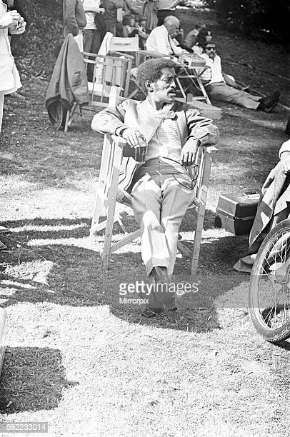 Sammy Davis Junior takes a break from filming at Eastnor Castle Ledbury for 'One More Time' 1st August 1969