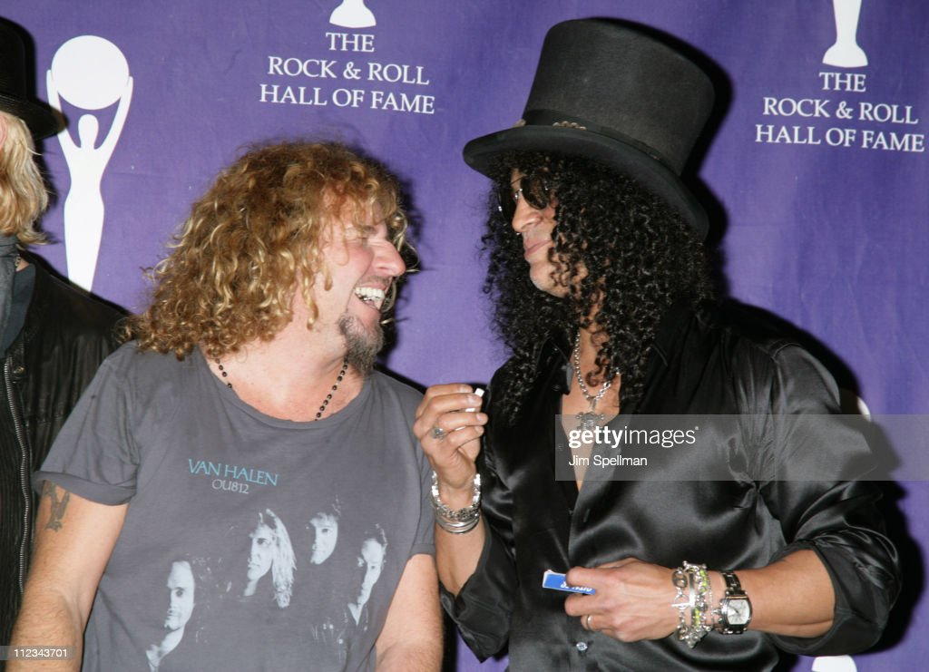 Sammy Hagar of Van Halen, inductee, and Slash during 22nd Annual Rock and Roll Hall of Fame Induction Ceremony - Press Room at Waldorf Astoria in New York City, New York, United States.
