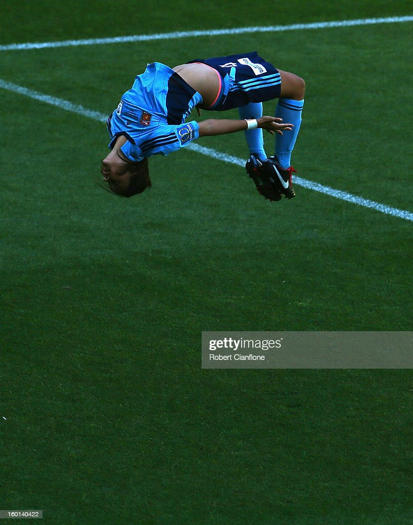 Sammy Kerr of Sydney FC celebrates her goal during the W-League Grand Final between the Melbourne Victory and Sydney FC at AAMI Park on January 27, 2013 in Melbourne, Australia.