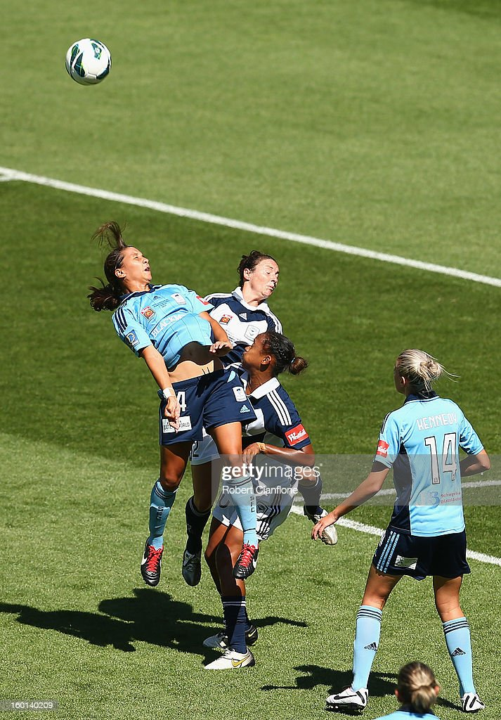 Sammy Kerr of Sydney FC heads the ball during the W-League Grand Final between the Melbourne Victory and Sydney FC at AAMI Park on January 27, 2013 in Melbourne, Australia.