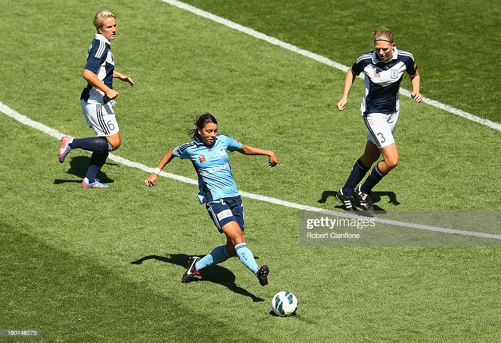 Sammy Kerr of Sydney FC kicks the ball during the W-League Grand Final between the Melbourne Victory and Sydney FC at AAMI Park on January 27, 2013 in Melbourne, Australia.