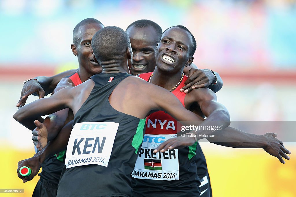 Sammy Kibet, Job Koech Kinyor, Ferguson Cheruiyot Rotich and Kirongo Alfred Kipketer of Kenya celebrate after winning the Mens 4x800 metres relay during day one of the IAAF World Relays at the Thomas Robinson Stadium on May 24, 2014 in Nassau, Bahamas.