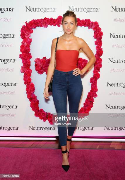 Sammy Robinson attends the Neutrogena Visibly Clear Light Therapy Acne Mask Launch at Museum of Contemporary Art on August 16 2017 in Sydney Australia