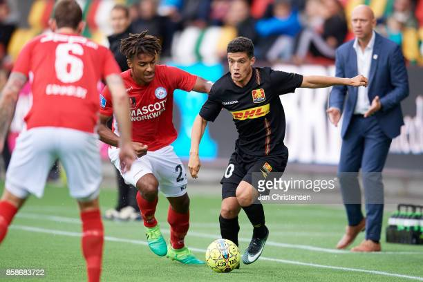 Sammy Skytte of Silkeborg IF and Patrick da Silva of FC Nordsjalland compete for the ball during the Danish Alka Superliga match between Silkeborg IF...