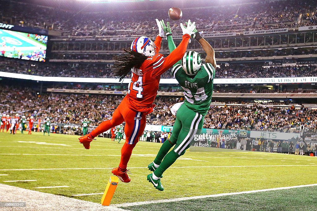 Sammy Watkins #14 of the Buffalo Bills attempts to catch a pass in the end zone under pressure from Darrelle Revis #24 of the New York Jets during the second quarter at MetLife Stadium on November 12, 2015 in East Rutherford, New Jersey.