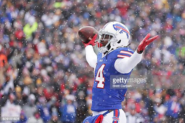 Sammy Watkins of the Buffalo Bills celebrates a touchdown catch against the Pittsburgh Steelers during the first half at New Era Field on December 11...