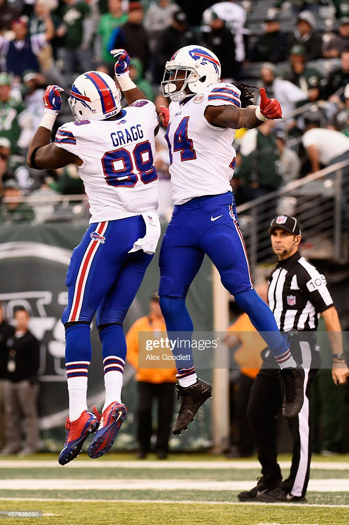 Sammy Watkins #14 of the Buffalo Bills celebrates his 61-yard touchdown with teammate Chris Gragg #89 against the New York Jets in the fourth quarter at MetLife Stadium on October 26, 2014 in East Rutherford, New Jersey.