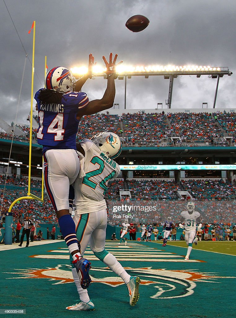 Sammy Watkins #14 of the Buffalo Bills goes up for a catch as Brice McCain #24 of the Miami Dolphins defends during the first quarter of the game at Sun Life Stadium on September 27, 2015 in Miami Gardens, Florida.