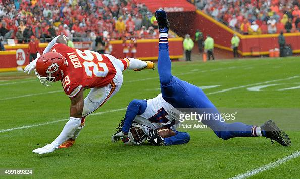 Sammy Watkins of the Buffalo Bills makes a catch against Eric Berry of the Kansas City Chiefs at Arrowhead Stadium during the first quarter of the...