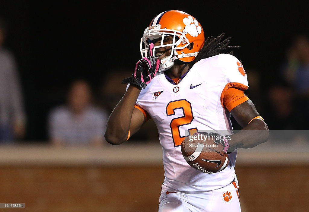 Sammy Watkins of the Clemson Tigers celebrates after scoring a touchdown during their game against the Wake Forest Demon Deacons at BBT Field on...