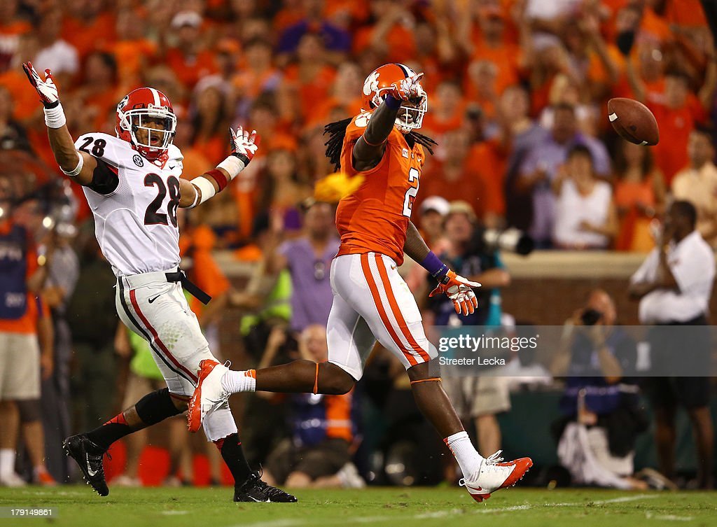 Sammy Watkins #2 of the Clemson Tigers reacts after a pass intereference call against the Georgia Bulldogs at Memorial Stadium on August 31, 2013 in Clemson, South Carolina.